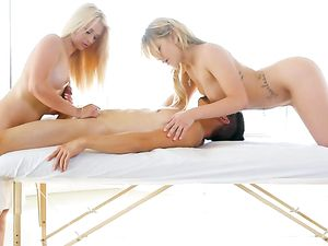 Threesome Happy Ending To His Hot Double Massage
