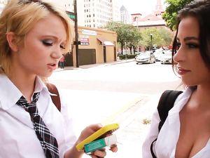 Young Schoolgirls Sharing A Long Throbbing Cock