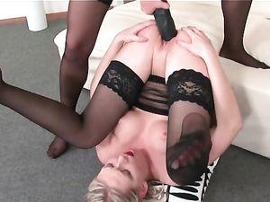 Blonde Lesbians Enjoy Some Strap On Fucking
