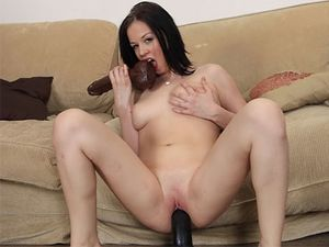 Tight Pussy Loosens Up For Huge Dildo Sex