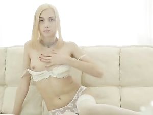 Lace Is Sexy On A Long Legged Blonde Teen