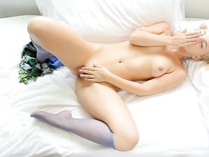 Perfect Blonde Cutie Plays With Her Wet Pussy