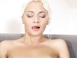 Sexy Blonde Stroking And Fingering Her Tight Pussy