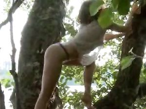 Redheaded Nymph In A Tree Pleasures Her Pussy