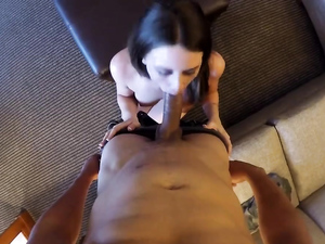 Cute Brunette Sucks Dick And Gets Fucked In Pov