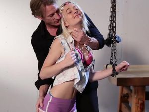 Bound Blonde Teen Used In His Kinky Sex Dungeon