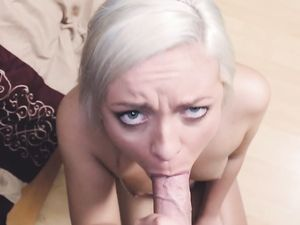 Sweetheart Looks Into The Camera As She Sucks Cock
