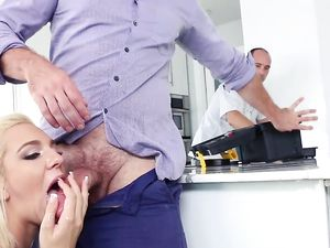 Blonde Pounded By A Big Cock With The Plumber Working
